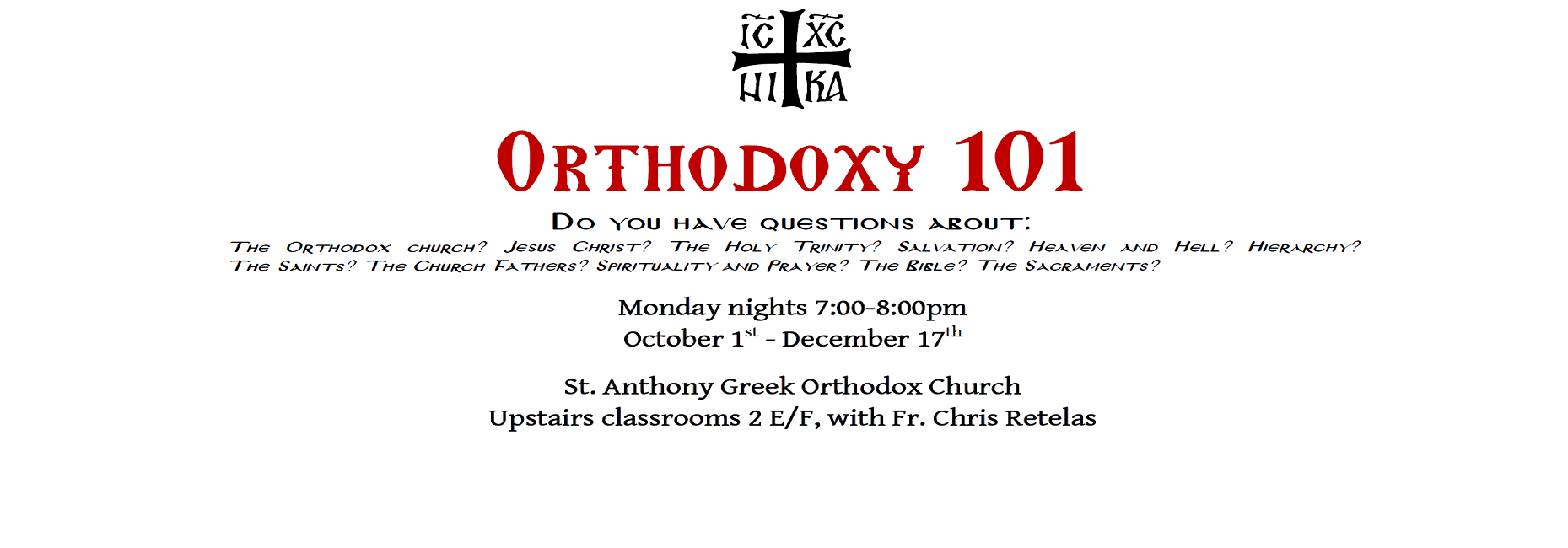 Orthodoxy 101 classes